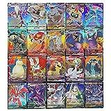 100 Piezas Tarjetas de Pokémon, Tarjetas de Intercambio GX, Juego de Tarjetas de Pokémon con 20GX + 20Mega + 1Energy + 59EX Art O 80EX + 20GX O 100V (50Vmax + 50V)
