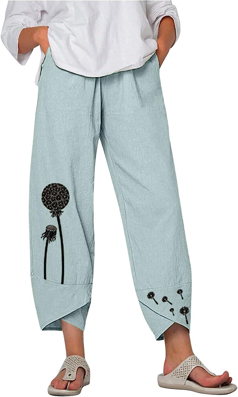 Tigivemen Women Casual Print Wide Leg Pants Elastic Girdle Waist Comfy Loose Joggers Pants with Pockets