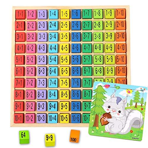 mengger Montessori Mathematik Spielzeug Multiplizier Tabelle Lernen Spiel tafel üben Karten grundschule Addition mit Puzzle Spielzeug aus Holz Zahlen Multiplication Table für Kinder