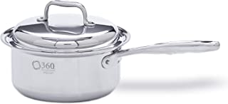 360 Stainless Steel Sauce Pan with Lid, Handcrafted in the USA, Surgical Grade Stainless Steel Saucepan, Induction Cookware, Waterless Cookware, Dishwasher Safe, Oven Safe, Professional Grade. 3 Quart