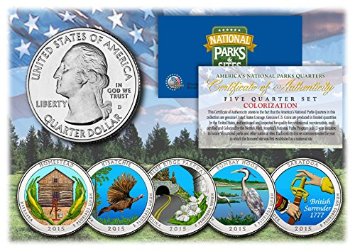 2015 America The Beautiful COLORIZED Quarters U.S. Parks 5-Coin Set w/Capsules