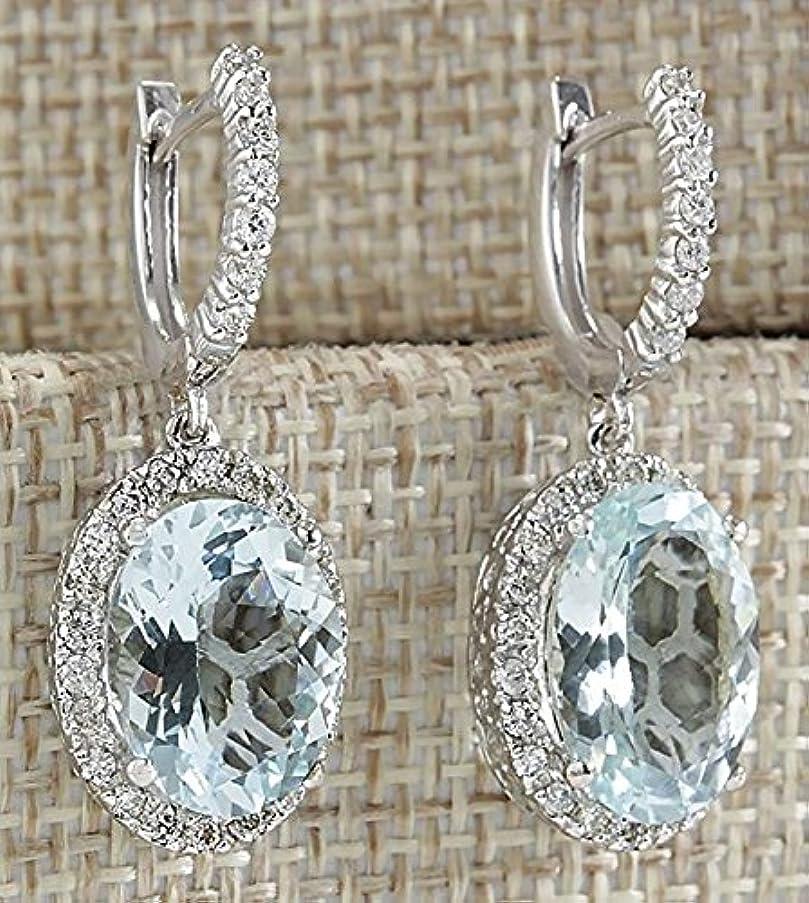 Huangiao Fashion Women 925 Silver Aquamarine Gemstone Bridal Ear Stud Hoop Dangle Earring