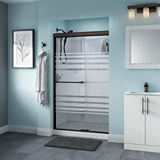 Delta Shower Doors SD3276509 Windemere Semi-Frameless Traditional Sliding Shower Door 48in.x70in, Bronze Track