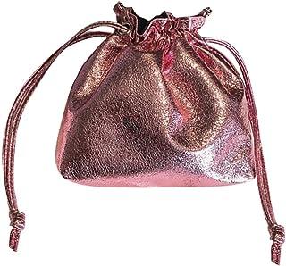 Wultia - New Hot Fashion Bucket Drawstring Pocket Wild Diagonal Shoulder Bag Shiny Patent Leather Bundle Pocket Messenger Bags #M Pink