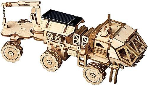 LHYP 3D Holz Puzzle Mechanisches Modell Selbst Montieren Solar Energie Betriebene Explorations Wagen, Puzzle-Spielzeug-Projekt Für Jungen (Raumjagd)