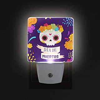Jojogood Mexican Skull Flowers Plug in LED Night Light Auto Sensor Smart Dusk to Dawn Decorative Night for Bedroom, Bathroom, Kitchen, Stairs,Hallway,Baby's Room, Energy Saving (Pack of 2)