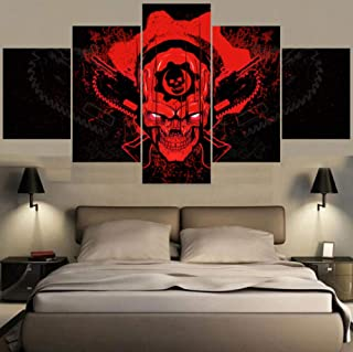 sansiwu k Canvas Painting Calligraphy Gears War Cool Red Skull for Living Room Wall Art Decorative Pictures Home Decor for Bedroom
