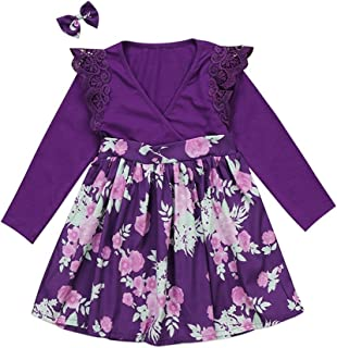 GSHOOTS Baby Girls' Little Sister Romper Big Sister Dress Family Matching Outfit Lace Sleeve Bodysuit Floral Skirt