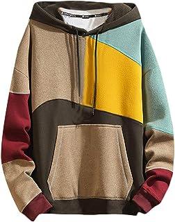 FSSE Mens Loose Color Block Long Sleeve Hooded Plus Size Pullover Sweatshirt