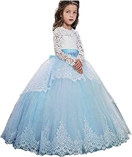 85e5efc1fc OkayBridal Vintage Appliques Lace Flower Girl Dress Tull First Communion  Dress Long Sleeves Princess Toddler Pageant
