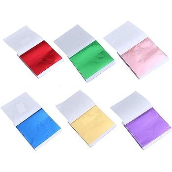 Healifty Feuille De Papier D Aluminium Imitation Feuille D Or Pour Peinture A La Slime Decoration Murale 300 Pieces Amazon Fr Cuisine Maison