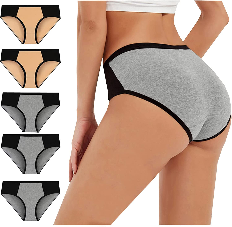 Women's High Waist Cotton Underwear Soft Breathable Ladies Panties No Muffin Stretch Briefs Plus Size 5-Pack