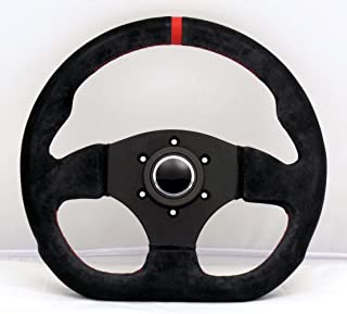 Sport Line Racing Steering Wheel - Competition - 300mm (11.81 inches) - Black Suede Leather with Red Stitching and Red Center Stripe - Black Spokes - Part # 20137/SN