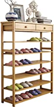 LMCLJJ 6-Tier Shoe Rack Wooden Shoe Storage Shelf Shoe Organizer Shoe Rack Storage Bench Bamboo Seat Organizing Shelf Entr...