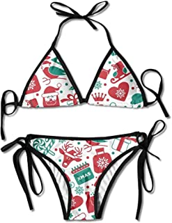 Women's Thong Bikini Suit Swimsuit Christmas Snowmen Winter Hat Santa Claus Sexy Bikini Set 2 Piece