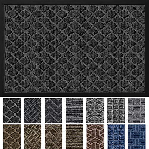"""DEXI Door Mat Front Indoor Outdoor Doormat,Small Heavy Duty Rubber Outside Floor Rug for Entryway Patio Waterproof Low-Profile,23""""x35"""",Black"""