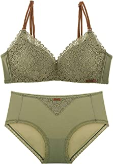Care Thin Sexy Gathered Bra Set, lace and Sponge, no Steel Ring, Adjustable Chest, Adjustable Shoulder Strap, Three-Row Bu...