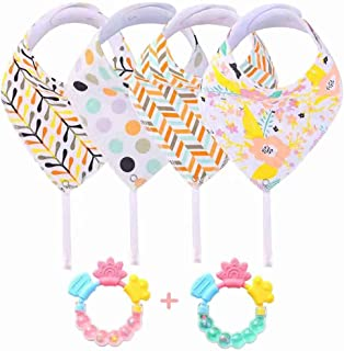 Baby Bandana Bibs with Teether - 6 Pack Drool Bibs for Teething Toddler, Idea Gift for New Baby, 0-6 Months,6-12 Months,1-3 Years (Girl)