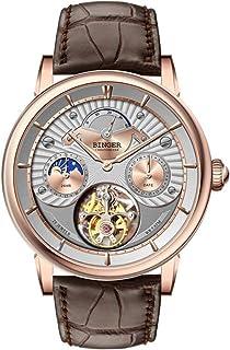 YuYaX Watch - Reloj Mecánico Automático Reloj Para Hombres Visualización De Energía Cristal De Zafiro Sintético Espejo De Cristal Calendario Indicación De 24 Horas 50 Metros Vida Impermeable Correa De Cuero, Brown