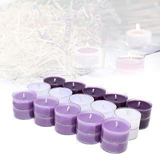 Candelo Ambiente Lot de 30 bougies chauffe-plat parfumées à la lavande et à la vanille dans un étui en plastique 1,8 x 3,5...