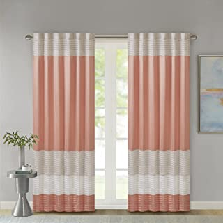 Madison Park Room-Darkening Window Treatment Curtain Solid Thermal Insulated Panel Blackout Drapes for Bedroom Livingroom and Dorm, 50x84, Coral