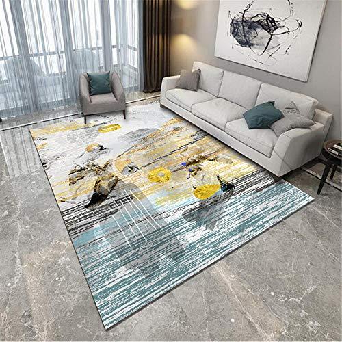 Jiaosa Floor Carpet blue Carpet yellow blue abstract pattern anti-dirty carpet salon durable Office Carpet 80X120CM Rug Carpet 2ft 7.5''X3ft 11.2''