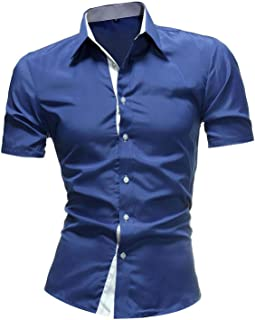 Men Classic Shirts Casual Jeans Mens Solid Color Shirt New Short Sleeve