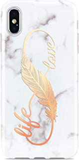JIAXIUFEN Compatible iPhone X iPhone Xs Case Shiny Rose Gold Love Life White Marble Slim Shockproof Flexible Bumper TPU Soft Case Rubber Silicone Cover Phone Case for iPhone Xs iPhone X