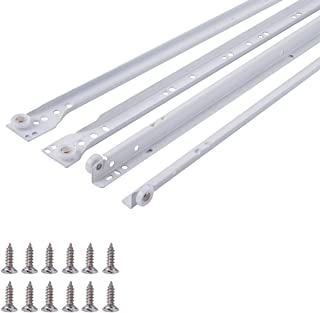 Euro Bottom Mount Drawer Slides, 22 Inch, White Powder Coat, 1-Pair