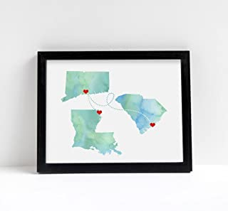 Any Three States Love Wedding Gift Personalized State Watercolor Series Custom Location Modern Art Print Long Distance Map Art Engagement Bridal Shower Water Color Gift