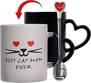 Yuwu Mom Cat Mug Heart Color Changing Cat Mugs Gifts Heat-Sensitive Mugs Heat Changing With Spoons Set Novelty Best Cat Mom Ever Heart Morning Lovers Cat Memes Gift Magic Lover Coffee Cup
