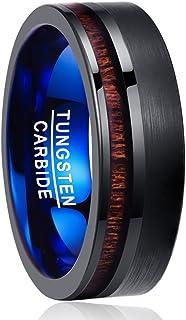 Blu Taglia 15-27,5 NUNCAD Anello Uomo//Donna con Angoli e Cerchi in Tungsteno Fibra di Carbonio Unisex Anello Souvenir//Anello Moda Nero