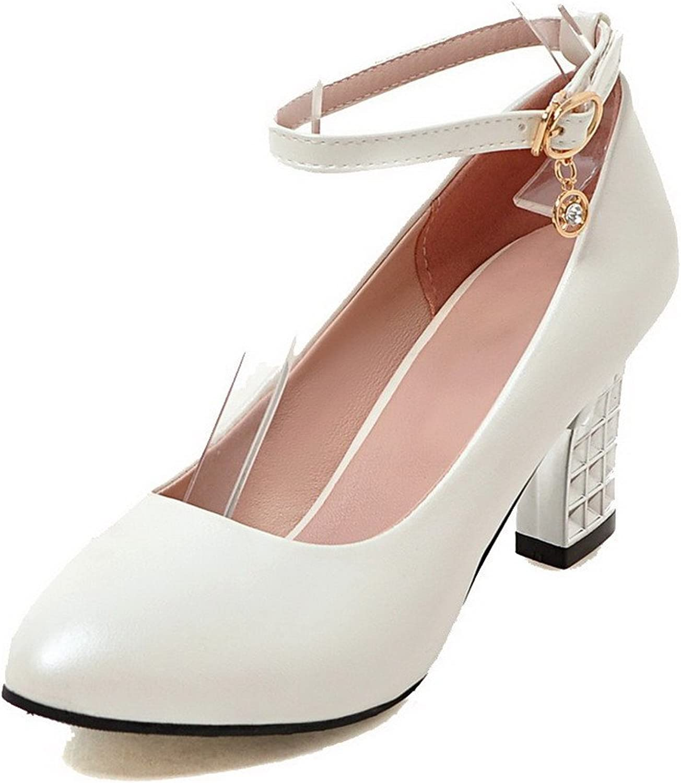 AllhqFashion Women's Solid Buckle High-Heels Pumps-shoes