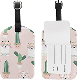 Alpaca Lama Cactus Luggage Tag PU Leather Bag Suitcases Baggage Label 2 Pieces Set