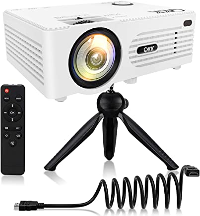 """QKK [2019 Upgrade] Mini Projector -Full HD LED Projector 1080P Supported, 50,000 Hour Lamp Life with 170"""" Display for Home Theater Entertainment,Video Projector for HDMI,TV,SD Card,AV,VGA,USB x2"""