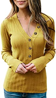 Aniywn Women's Slim Fit Ribbed Tunic Shirt Tops Ladies Solid Button V-Neck Long Sleeve Sweater Pullover