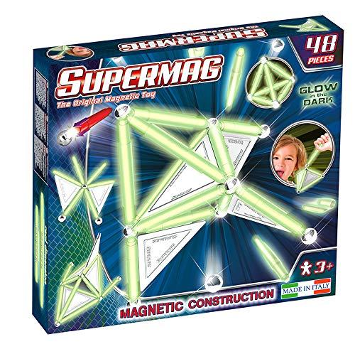 Plastwood- Supermag Tags Glow 48 Gioco di Costruzioni Magnetico, Multicolore, 158