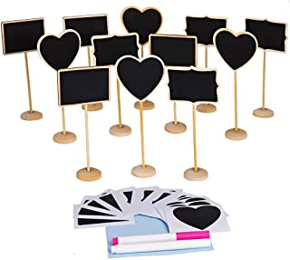 LJDJ 12 pcs Reusable Mini Chalkboard Signs with Support Easel + 2 Chalkboard Markers + Cleaning Cloth for Message Board Signs Wedding Party Table Numbers Place Card Decorative