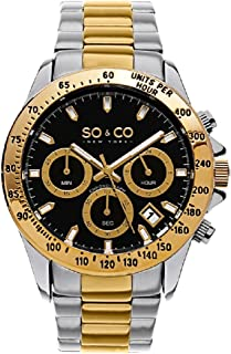 SO&CO New York Men's 5001A.2 Monticello Quartz Date Chronograph Two-Tone Stainless Steel Bracelet Watch