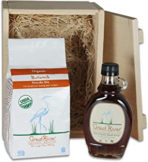 Great River Milling Buttermilk Pancake Mix & Maple Syrup Gift Box, 6.5 Pound