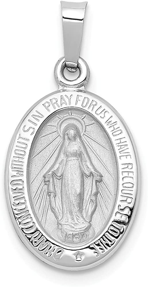 14k White Gold Miraculous Mary Medal Brushed Matte Finish Pendant Charm - 18mm x 11mm