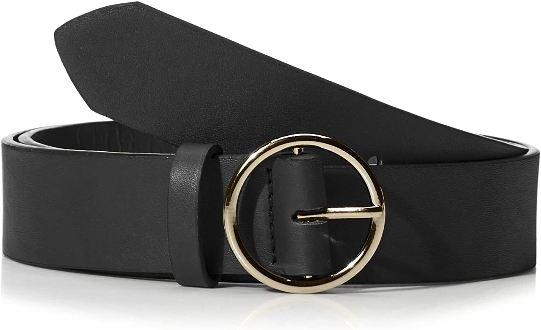 BeautifulNomad Women's Round Buckle Casual PU Leather Belt