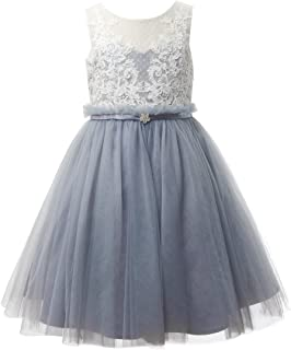 Ivory Lace Dusty Blue Tulle Wedding Flower Girl Dress Junior Bridesmaid Dress