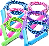 GiftExpress Adjustable Size Colorful Jump Rope for Kids and Teens - Outdoor Indoor Fun Games Skipping Rope Exercise Fitness Activity and Party Favor - Assorted Colors Pack of (6)