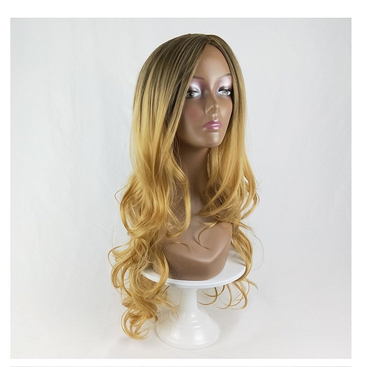 マラソン困惑したサーキュレーションJIANFU 人形の黒コスプレウィッグ女性のための人間の髪ロングバンズウィッグ黒の女性のためのナチュラルカラーグラデーション長いカーリーウィッグ220g (Color : Black Gradient Linen Yellow)