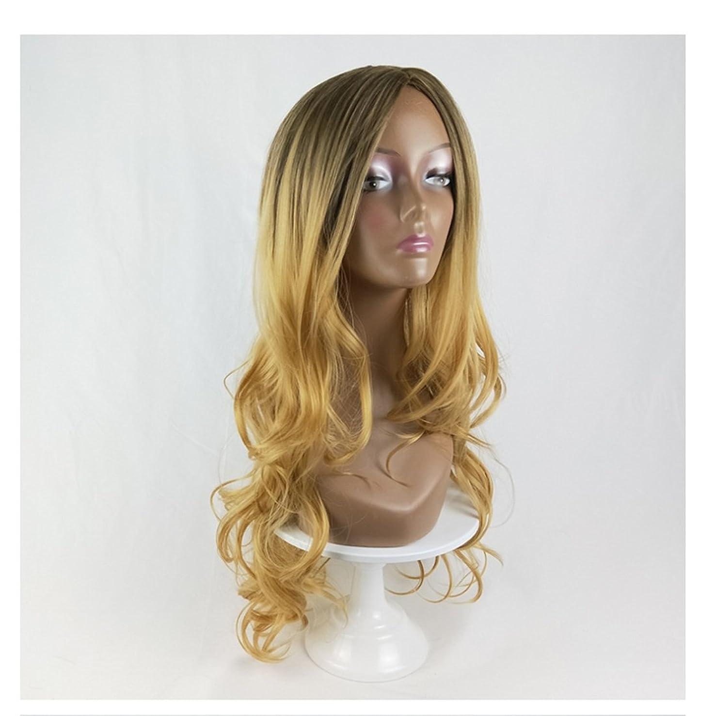 妖精彼女カスケードKoloeplf 人形の黒コスプレウィッグ女性のための人間の髪ロングバンズウィッグ黒の女性のためのナチュラルカラーグラデーション長いカーリーウィッグ220g (Color : Black Gradient Linen Yellow)