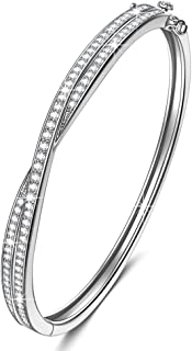 NINASUN Women Christmas Bracelet Gifts Shall We Dance Cuff Bangle Bracelet with 925 Sterling Silver Bracelets for Women with AAA Cubic Zirconia Hypoallergenic Material with Gift Box