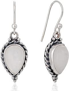925 Sterling Silver Moonstone Gemstone Pear Shaped Rope Edge Vintage Dangle Hook Earrings 1.4