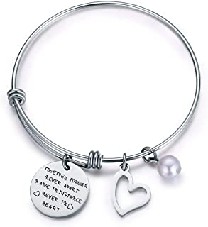 Jvvsci Together Forever Never Apart Maybe in Distance Never in Heart Bracelet,Long Distance Relationship Bangle, Sisters B...