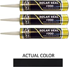 NPC #900 Solar Seal 3 Pack - for Metal Roofing Flashing/Panels, Vinyl and Fiber Cement Siding, Fiberglass, Cedar, Brick & Masonry, Sky Lights, Sun Rooms, Truck RV Trailers, Flashing (3, Black)